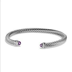 David Yurman Amethyst & Diamonds Cable Bracelet